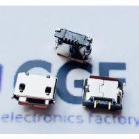 MICRO USB 2P母座 5.9/5.65脚距DIP插板+有柱无焊盘+卷边+镀镍