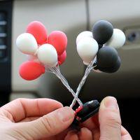 黏土告白小气球汽车摆件卡通车载可爱迷你彩色小汽球创意装饰用品