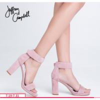 美国Jeffrey Campbell简约魔术贴一字带粗跟高跟凉鞋欧美春夏新品