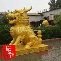 新品供应昌宝祥铸铜雕塑纯铜铸造2.2米大型动物雕塑神兽麒麟一对摆件现货