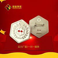厂家纯银徽章定制 纯金纯银镶钻徽章 企业勋章订做