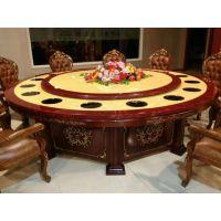 工厂直供中式餐厅火锅桌 实木底座 六人位大理石面火锅餐桌