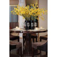 圣丰新中式 高光漆圆形餐桌 样板房售楼处大堂洽谈桌签约桌定做
