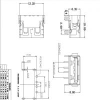 USB 2.0短体10.0母座 前插后插 A母 90度四脚插板DIP 带鱼叉 透明胶芯