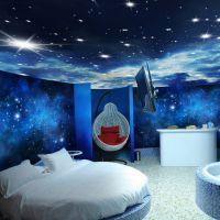 厂家直销3D个性定制宾馆客厅吊顶星空主题无缝壁画墙纸 餐厅KTV工装背景墙 立体天花板银河主题系列