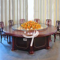 酒店古典宴会餐桌饭店电动餐桌圆形木转盘大圆桌 厂家直销