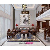 【山水装饰】元一高尔夫300平米古色古香中式别墅设计分享
