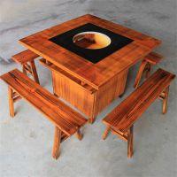 众美德餐厅家具私人定制火锅餐桌椅,实木火锅桌供应,田园人造石餐台