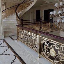 宜昌地产别墅楼梯工程扶手酒店楼梯护栏平台铜艺栏杆厂家