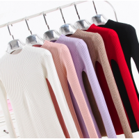 纯色女式针织衫坑条套头毛衣女秋冬装2018新款女装韩修身库存打底针织衫