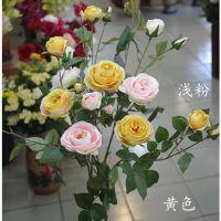 新款仿真花玫瑰单支多头极乐玫瑰花绢花假花装饰摆设插花厂家直销