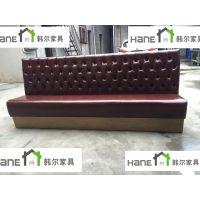上海皮制卡座沙发 咖啡厅美式卡座沙发 上海韩尔工厂为您定制