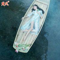 厂家供应 楚风木船专业定制 模特用道具船影视摄影旅游观光木船