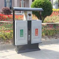 沧州绿美供应分类垃圾桶钢板铁双桶垃圾箱果皮箱室外景区街道 厂家批发