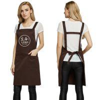 定做纯色工作服H型背带奶茶店烘焙美甲咖啡店围裙定制印刷刺绣绣logo印字