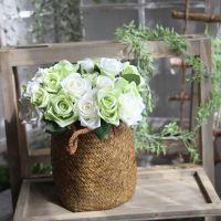 假花厂家直销 玫瑰花束仿真花批发外贸婚庆手捧花家居装饰12504