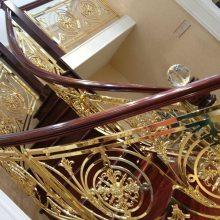山西太源别墅高档铝雕花楼梯 镜面K金铝镂空护栏现代简约国制典范