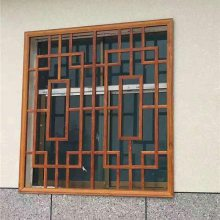铝合金仿古窗花 云南古楼木纹铝窗花