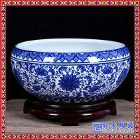 景德镇陶瓷聚宝盆手绘陶瓷鱼缸水缸聚宝盆摆件