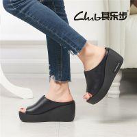 广州2018夏季新款时尚罗马真皮休闲外穿一字拖厚底高跟女士凉拖鞋