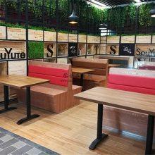 韶关木纹板式卡座沙发定做,西餐厅家具订制加工