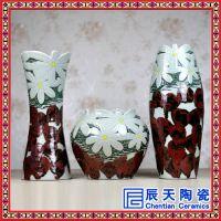 景德镇陶瓷器花瓶三件套手工家居饰品瓷瓶摆件客厅工艺品