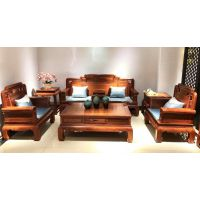 中山红木客厅家具刺猬紫檀古典国色天香沙发厂家价格