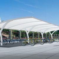 室外自行车膜结构遮阳棚 七字型膜结构车棚 海边沙滩张拉膜小品