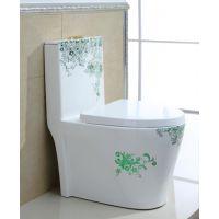 熔盛新款卫浴清新绿色彩色连体虹吸陶瓷马桶座便器