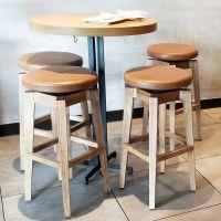 镇江市餐厅桌椅,星巴克实木高吧台凳美式乡村咖啡厅甜品店吧台桌