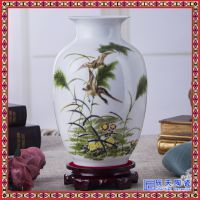 景德镇陶瓷乌金釉粉彩小花瓶摆件家居客厅电视柜酒柜创意装饰品