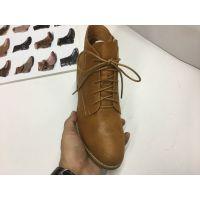 厂家批发2017秋冬新款女鞋绑带矮鞋女粗跟矮靴