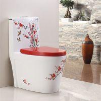 卫生间陶瓷连体超漩式连体马桶中国风手绘座便器