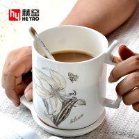 河北唐山赫窑 陶瓷带盖带勺骨瓷水杯办公室会议杯商务礼品杯广告杯定制logo
