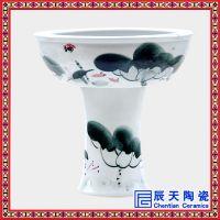 景德镇陶瓷仿古立柱式带瓷脚乌龟缸喷泉鱼缸风水摆件