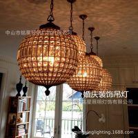 厂家直销欧式球形水晶灯 创意餐厅婚庆装饰吊灯 酒吧复古灯具批发