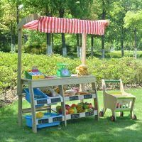 儿童木制过家家水果超市 仿真收银台玩具 幼儿园区角角色扮演玩具