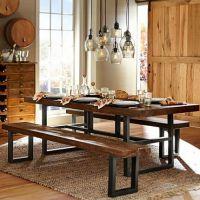 海德利 古典中式 铁艺实木餐桌椅批发饭店实木牛角椅 餐厅咖啡厅桌椅子组合