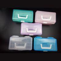 厂家直销 昊泽677透明工具箱 儿童绘画箱 储物收纳箱 铅笔盒 双层