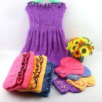 现货直销 珊瑚绒柔软吸水荷叶边抹胸百变可爱浴裙睡裙