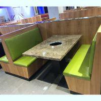现代中式电磁炉火锅餐桌大理石火锅桌椅卡座组合厂家定制