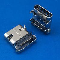 USB 3.1 板上24P母座 TYPE-C 板上四脚插板 DIP+SMT 前插后贴 半包有弹片
