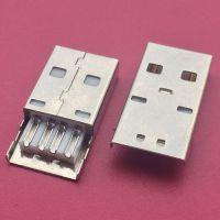 A公加长体/USB AM铁壳加长23.0mm/焊线式公头/4PIN/无接地/连接器