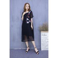 米谷儿真丝缎刺绣系列 夏装连衣裙品牌女装走份批发 一手货源