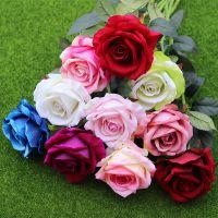厂家仿真玫瑰花婚庆手捧花用品 单支高仿真绒布玫瑰花 家居装饰