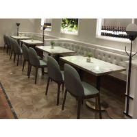 北欧现代白色大理石西餐厅桌组合主题餐厅桌椅厂家定制