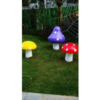 湖南园林景观创意蘑菇摆件 仿真植物玻璃钢蘑菇 港城雕塑批发零售厂家