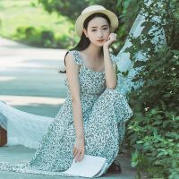2017新款夏季吊带长款雪纺连衣裙系带拼接旅行沙滩裙