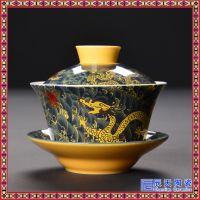 陶瓷盖碗大号三才碗景德镇青花手绘功夫茶具手抓壶茶碗茶杯