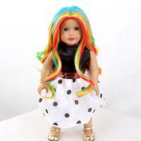 广州娃娃假发生产厂家 bjd娃娃假发彩色长卷发 可爱18inch美国娃娃假发